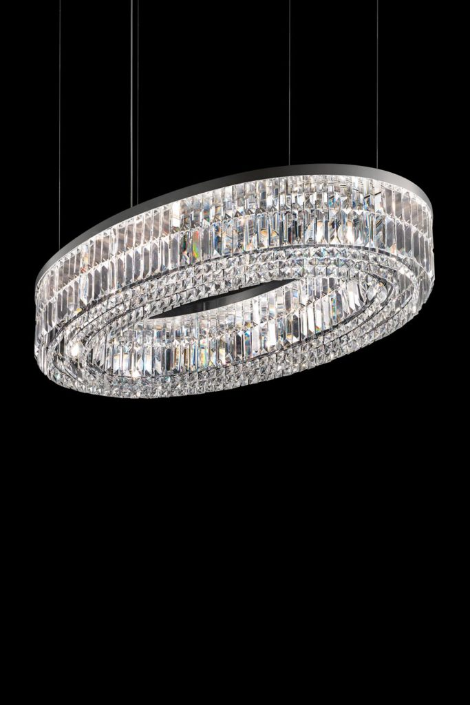 an oval, crystal chandelier