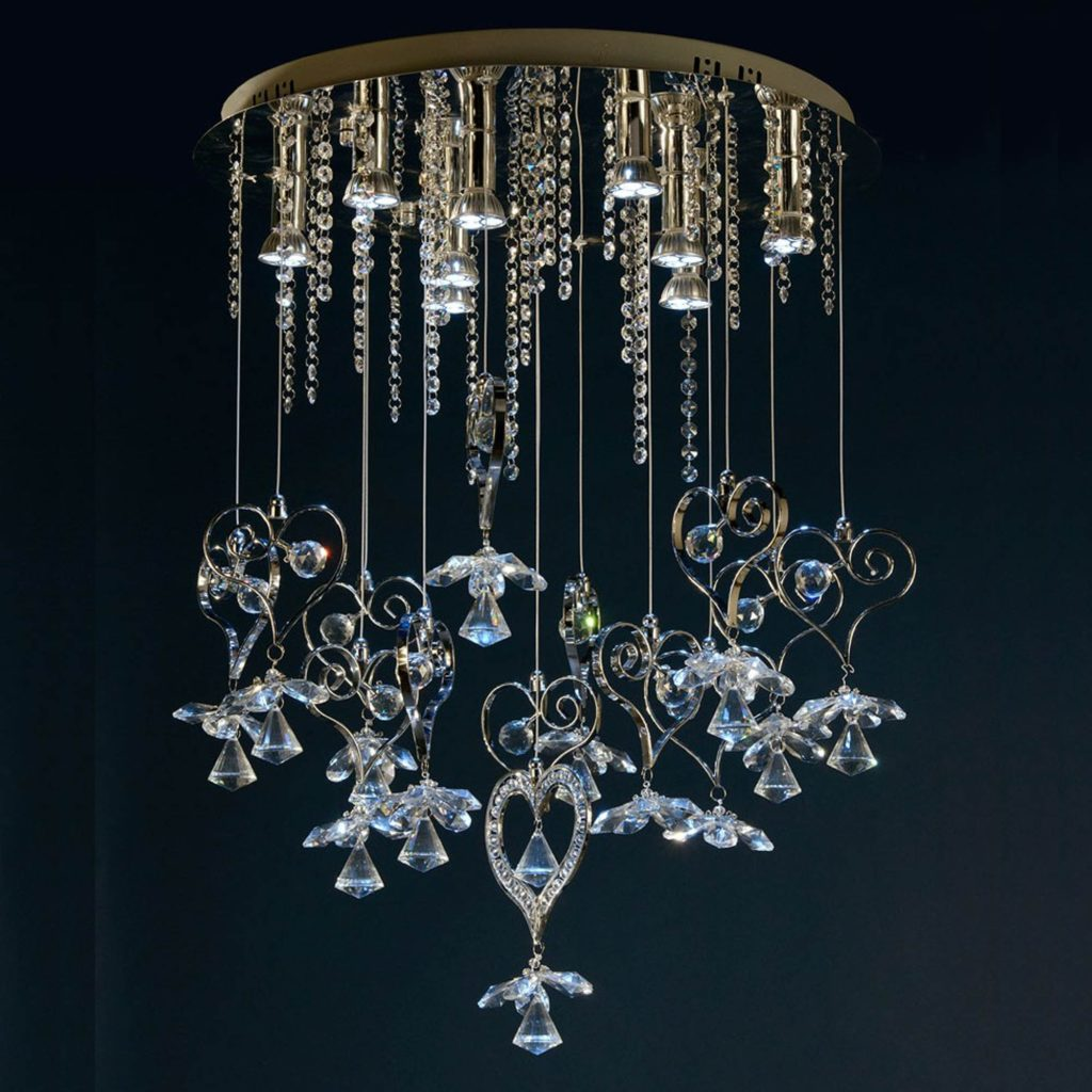 a contemporary, glass chandelier